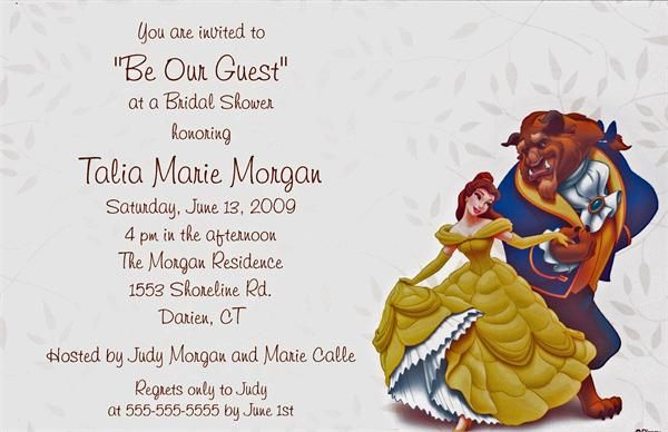 Beauty And The Beast Bridal Shower Invitation Beauty And The Beast