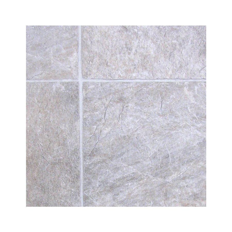 Shop tarkett 12 ft w creamy grey tile low gloss finish sheet vinyl tile doublecrazyfo Choice Image