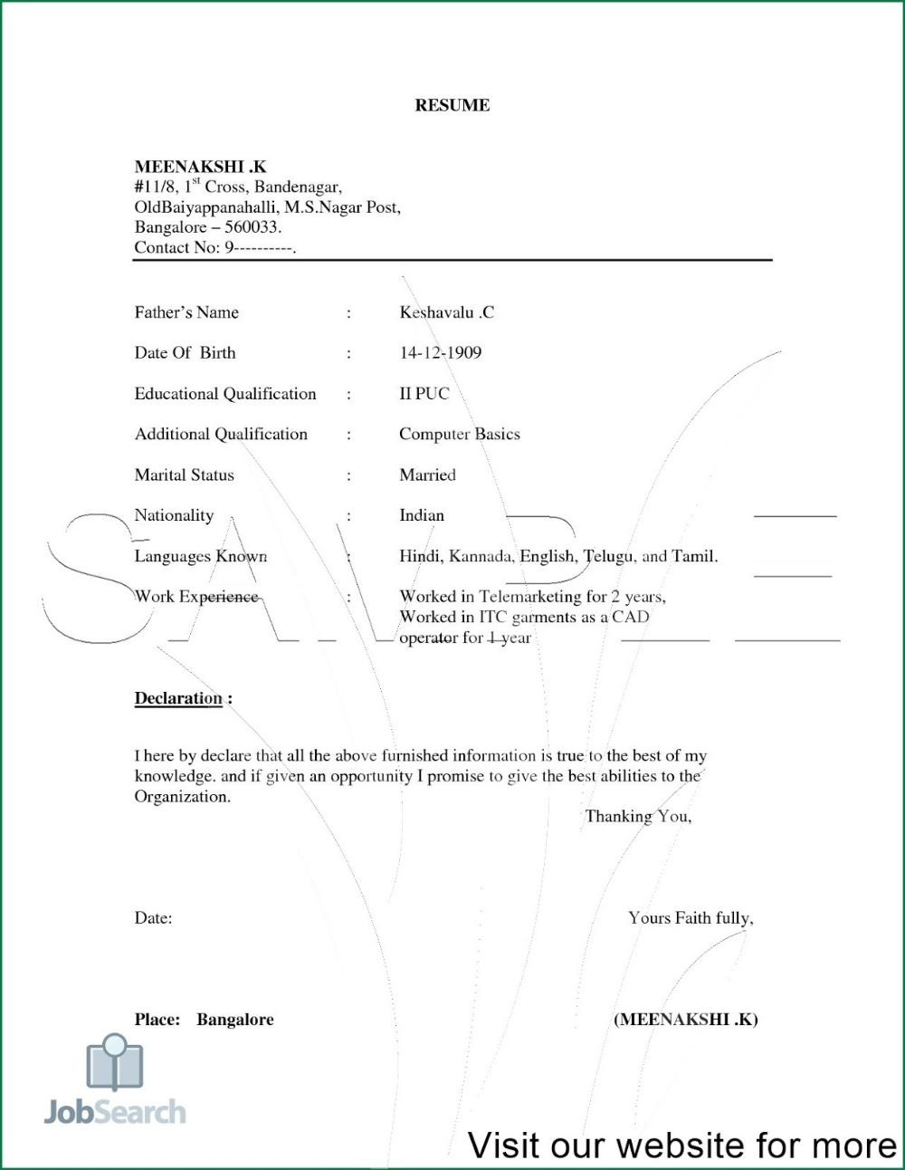 Job Resume PDF 2020 Job Resume for Freshers job resume pdf