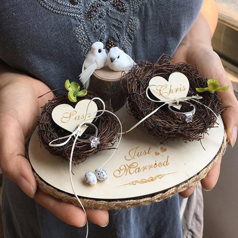 Handmade Personalized Wedding Ceremony Decoration Rustic Ring