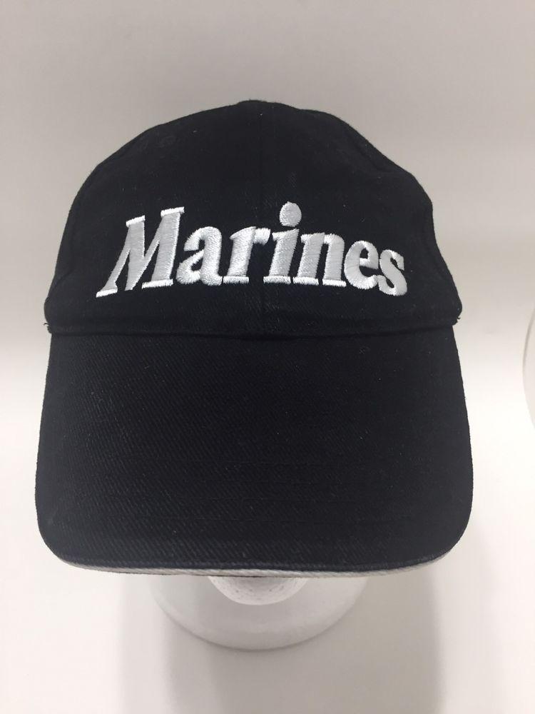 e707ba4a1ab USMC US Marine Corps Black Eagle Globe Anchor Baseball Cap Hat Slideback   BaseballCap