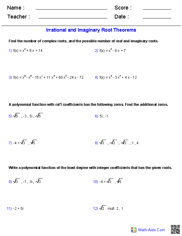 Irrational and Imaginary Root Theorems Worksheets | Math-Aids.Com ...