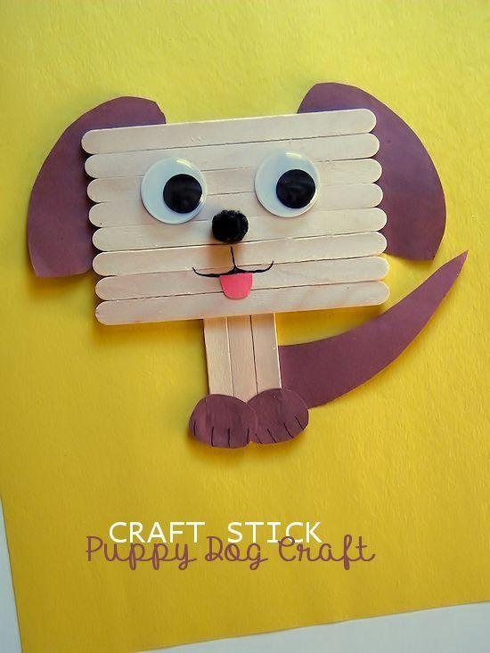 Craft Stick Puppy Dog Craft Ad School Fun Crafts For Kids