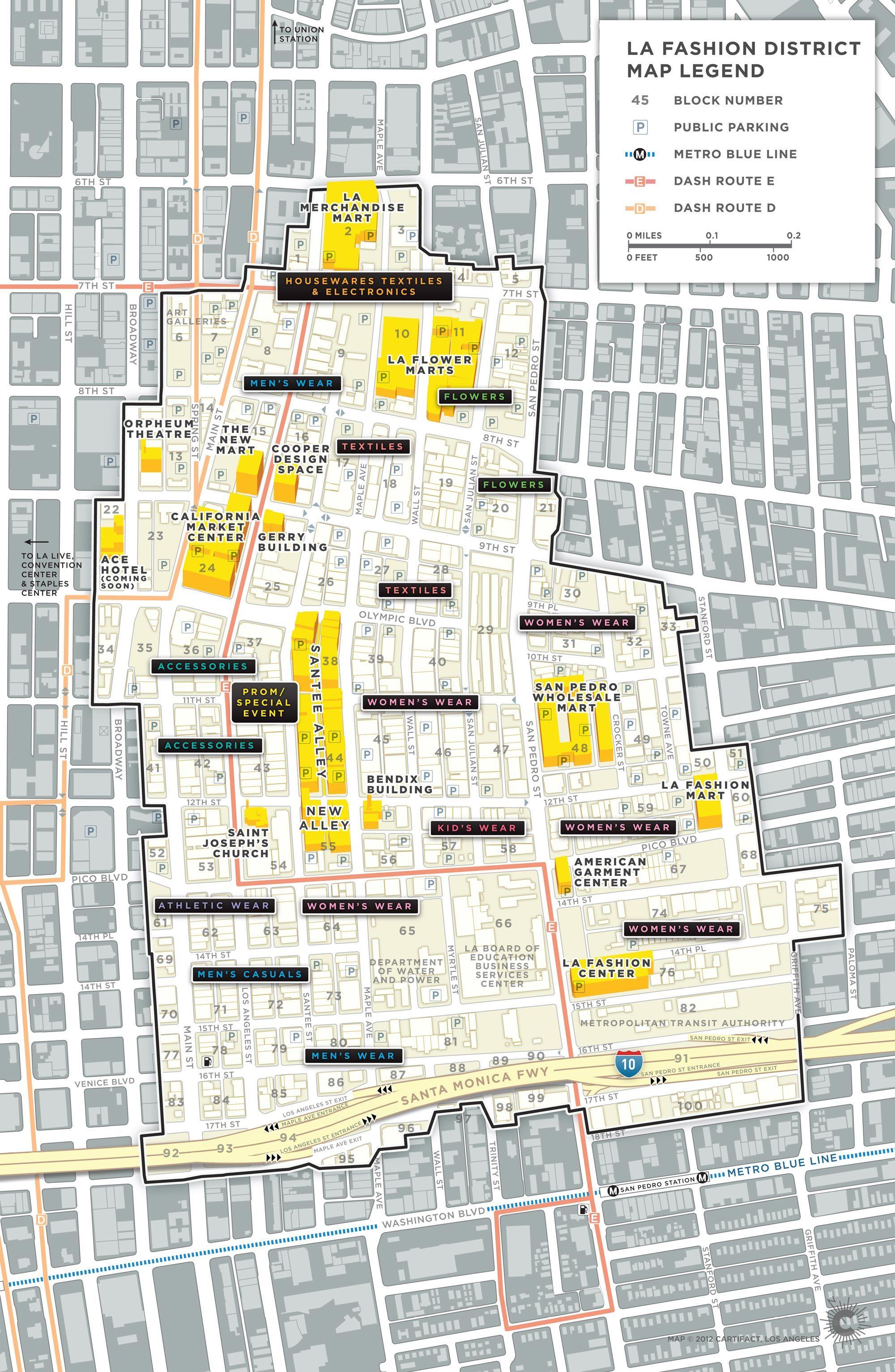 Map of L.A. Garment/Fashion District, Wholesale District, Flower ...