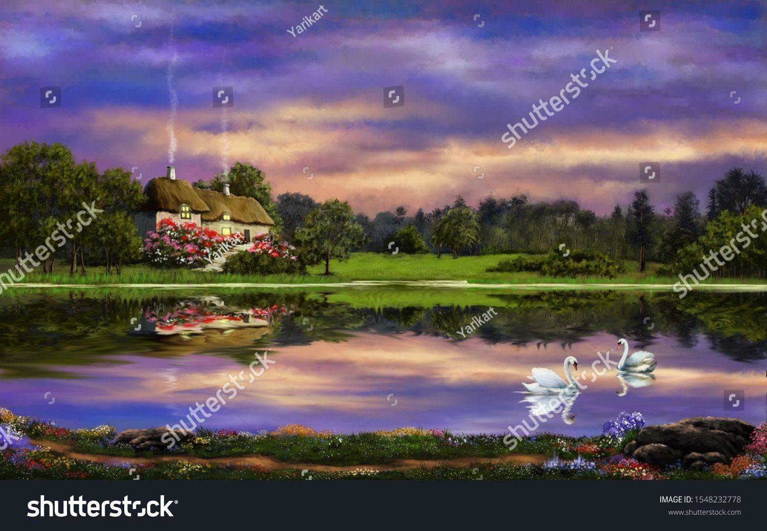 paintings rural landscape with house among the trees on the shore of a forest lake countryside landscape with reflection on the waterFine art Oil paintings rural landscap...
