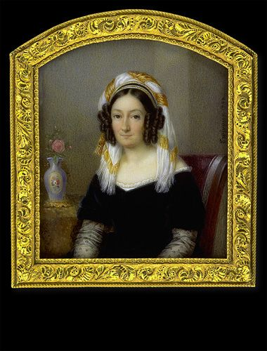 Jean Baptiste Désiré Troivaux    Lady in Black Dress with Yellow-White Turban    1842
