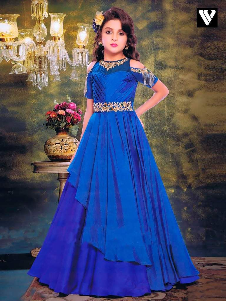 Buy party style paper silk royal blue color gown online