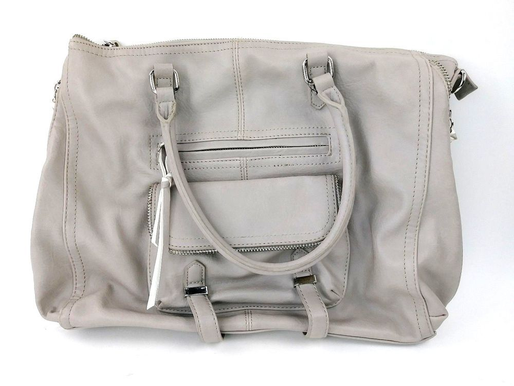 a37dfd3e3ac Steven Madden Tote Purse Gray Taupe Satchel Bag Faux Leather  SteveMadden   Tote