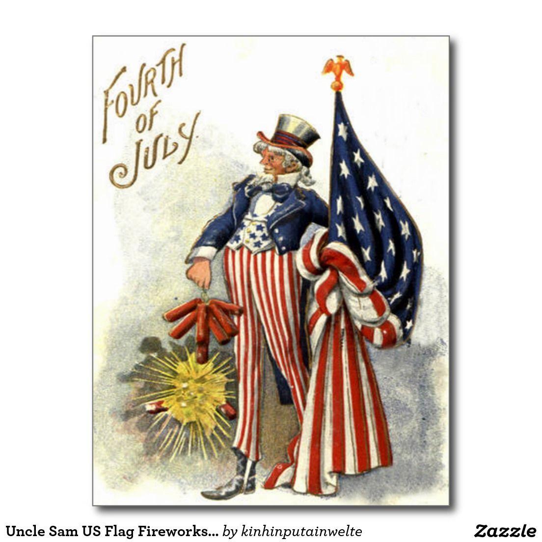 4th of July Flag and Fireworks Vintage Image Download Printable