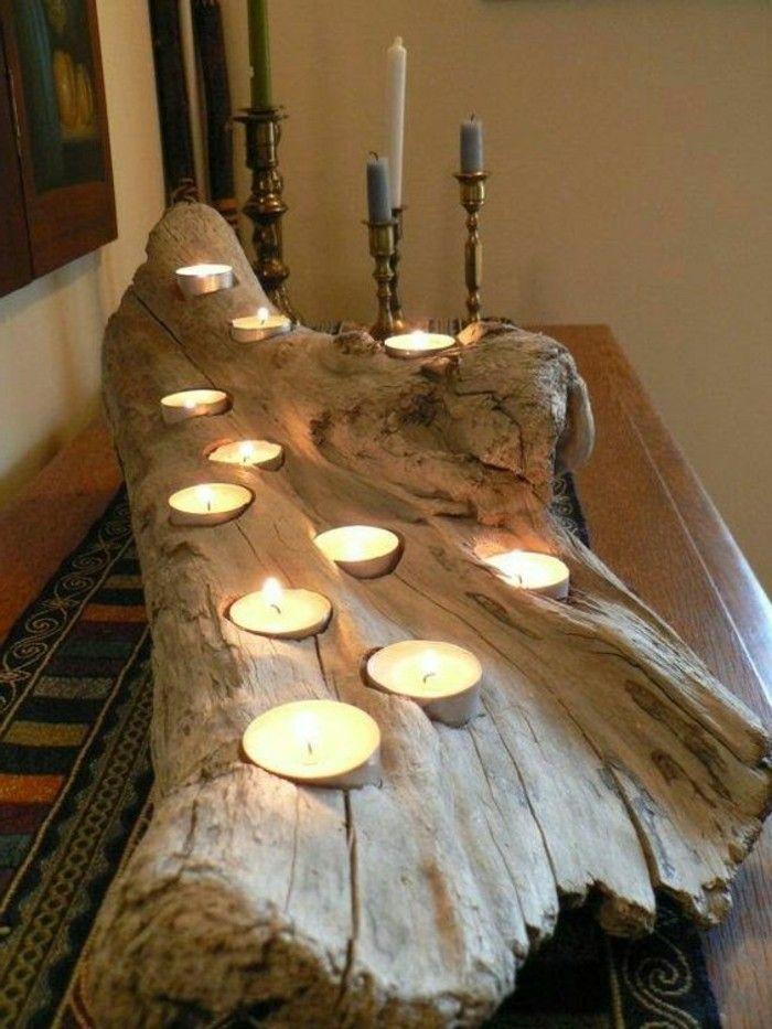 Treibholz Basteln Grosser Kerzenhalter Mit Vielen Kerzen Tisch Diy