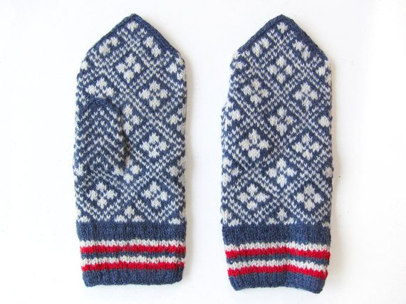 Traditional Scandinavian patterned mittens knit by by granny