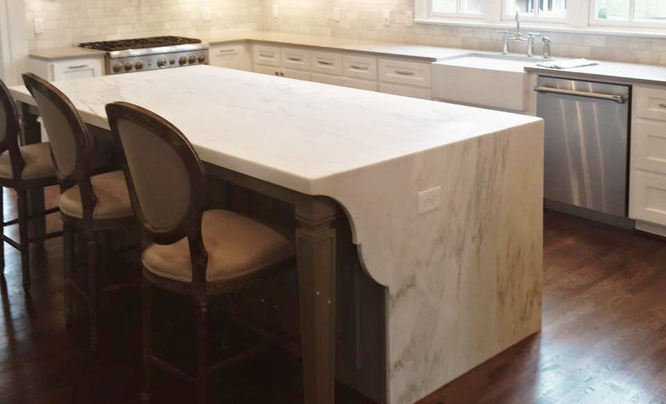Waterfall Edge Countertops For Kitchen Islands And Bathrooms