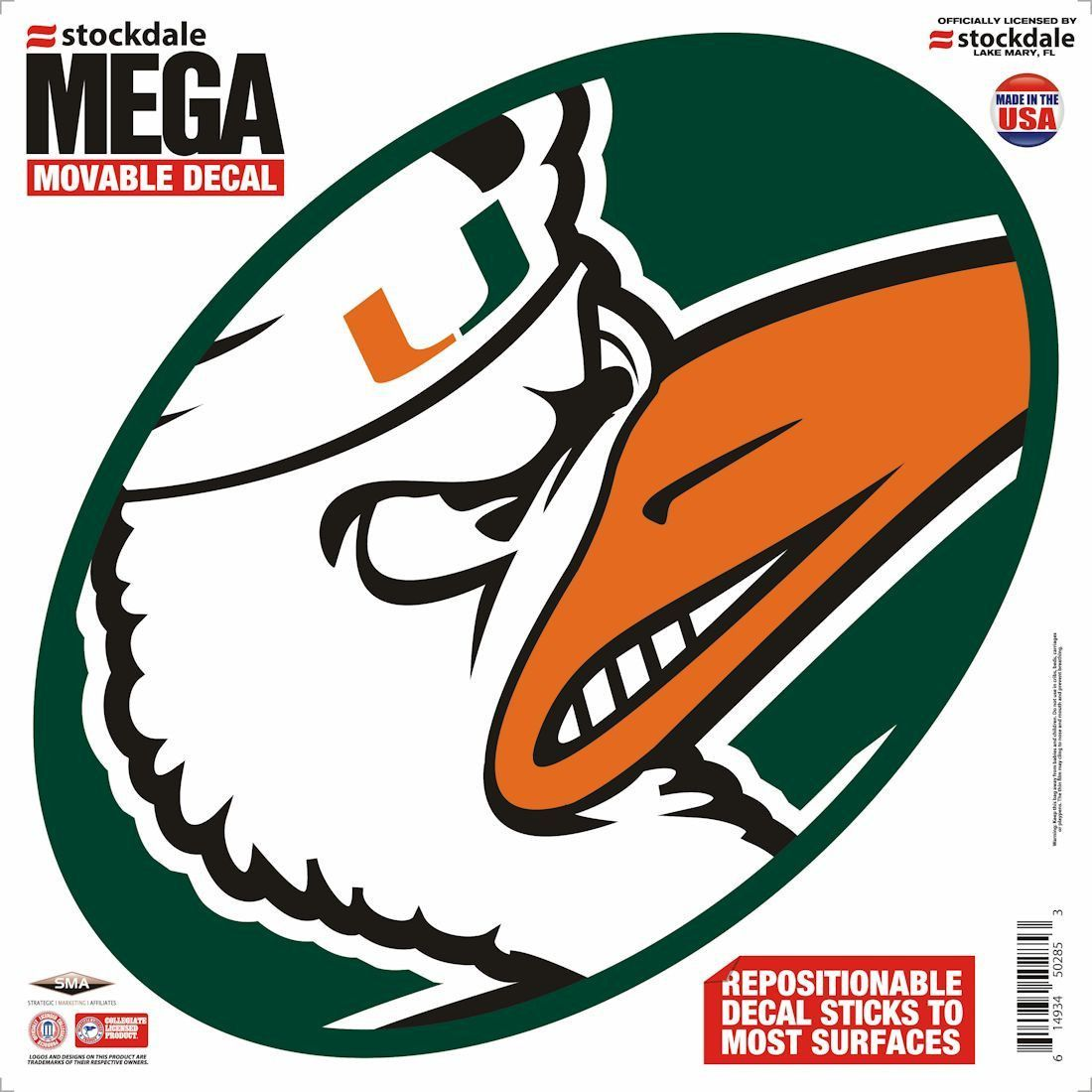 "Miami Hurricanes Decal - 12""x12"" Mega"