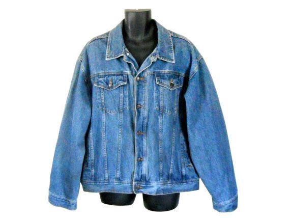 Men Denim Jacket Men Jean Jacket Men XXL Jacket 90s Denim Jacket ...