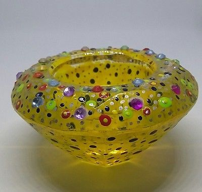 Stained glass tealight holder yellow