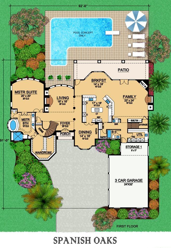 First Floor House Plans Mediterranean Homes Monster House Plans