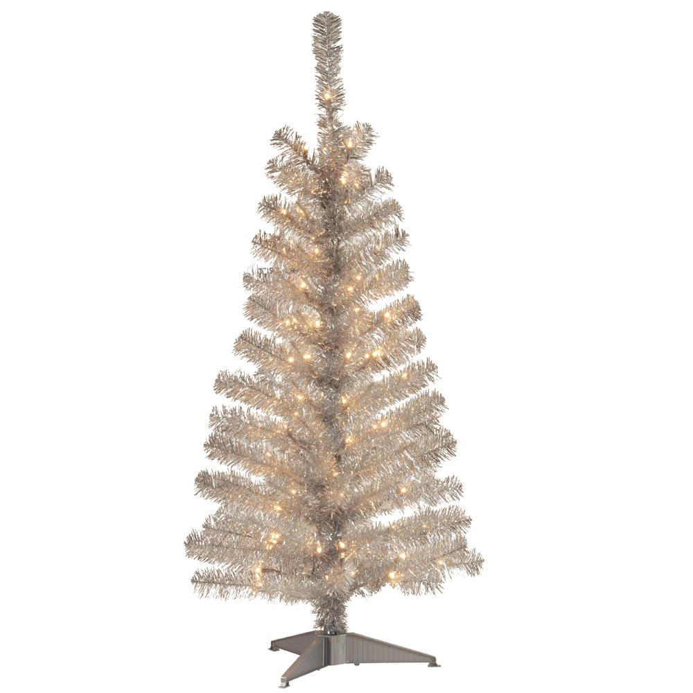 National Tree Company 4 Ft Silver Tinsel Artificial Christmas Tree With Clear Lights Tt33 300 40 The Home Depot Tinsel Christmas Tree Christmas Tree Clear Lights Silver Tinsel Tree