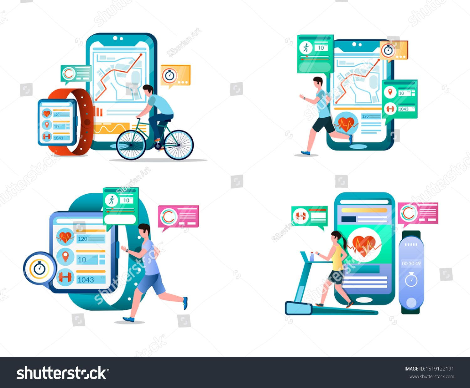 Fitness vector concept illustration set isolated on white background. Smart workout with fitness tra...