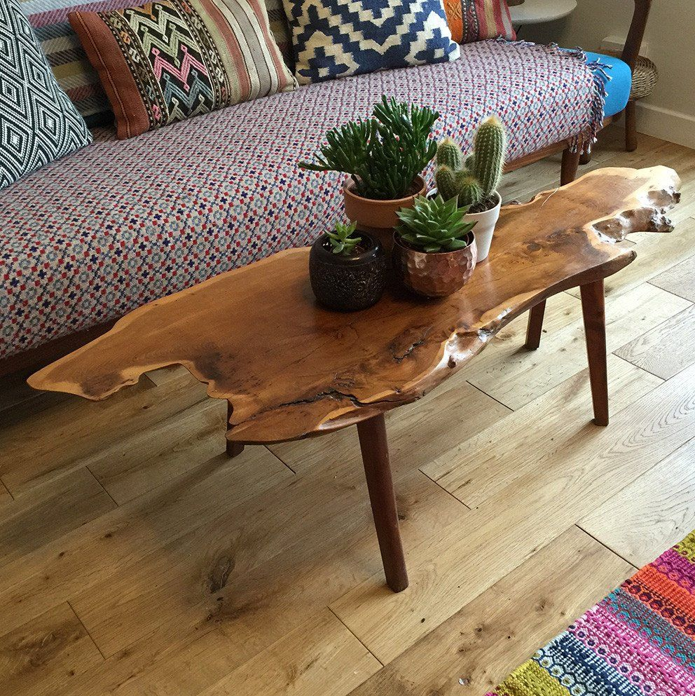 Natural edge dining table w steel hairpin legs from impact imports of - Mid Century Walnut Live Edge Coffee Table