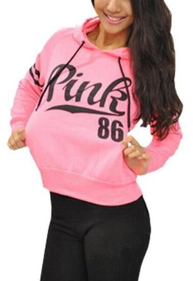 3bdf119b20959 Romoti Casual Pink Letter Hooded Sweatshirt