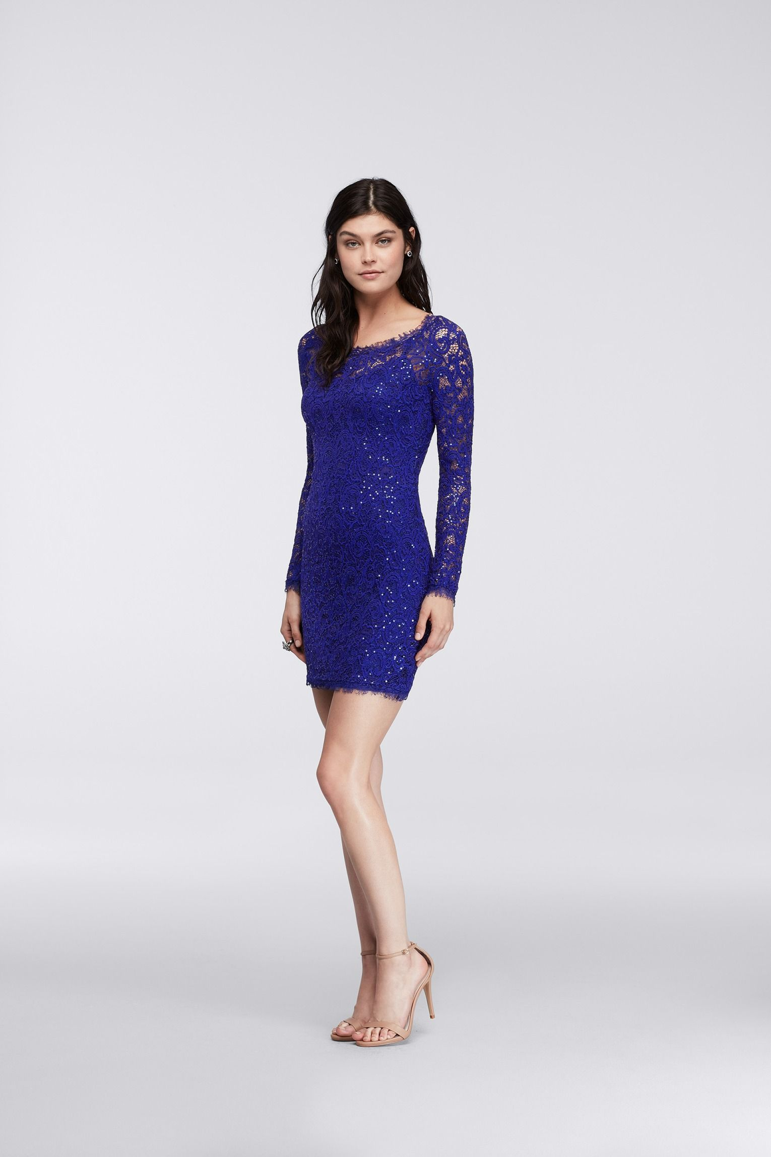 Long lacy sleeves in a gorgeous royal blue what to wear to