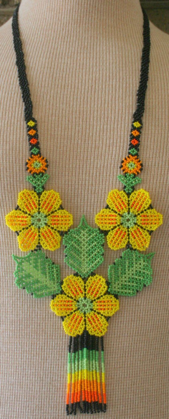 Flower crochet beads necklace  Handmade yellow and red flower beaded necklace  Neck accessories  Boho chic  Fall color trends