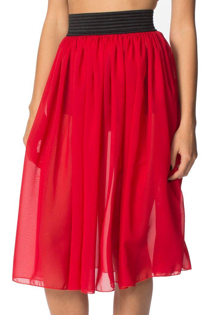 Chiffon Ruby Midi Skirt