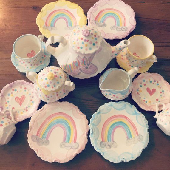 Unicorns Rainbows Tea Set Personalized For Little Girls Childs