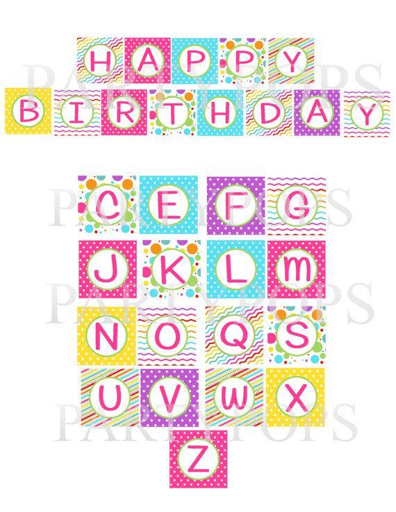 DIY Digital Girl Bright Happy Birthday Printable Party Banner, 26