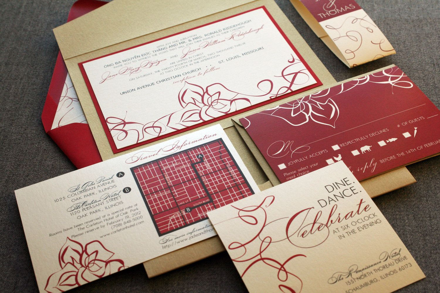 Elegant Lotus and Swirl Modern Wedding Invitation shown in Red, Gold ...