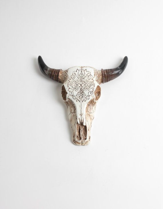 White Faux Taxidermy Bison Skull The Tandy Natural Faux Tooled