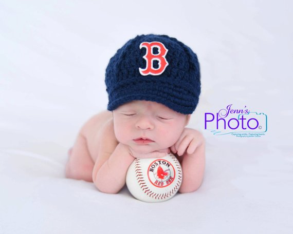 ef913ba5f Baby Boston Red Sox Cap Hat - Knit / Crochet - Baby Gift / Newborn ...