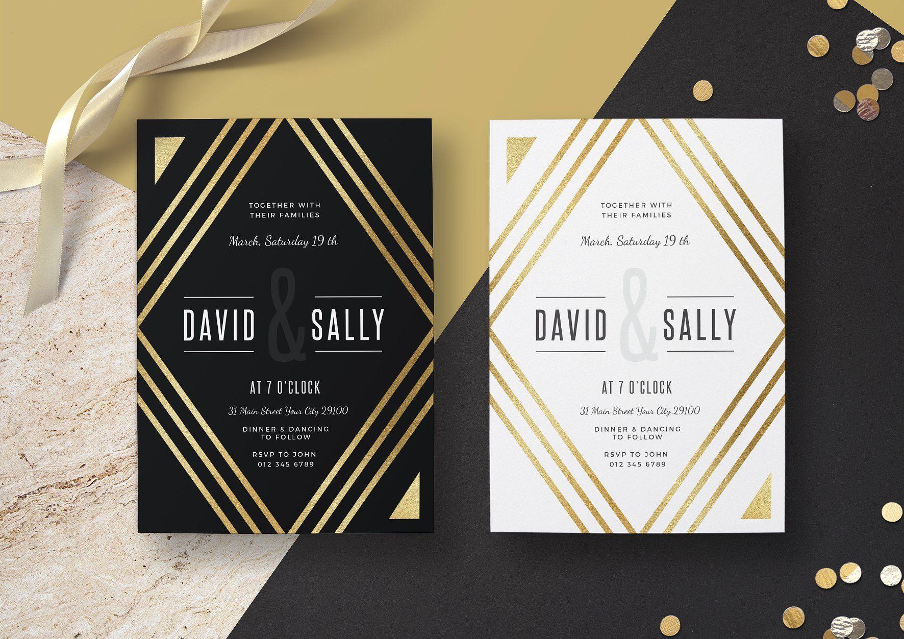 Gold Wedding Invitation | Gold wedding invitations, Black and white wedding  invitations, Black wedding invitations
