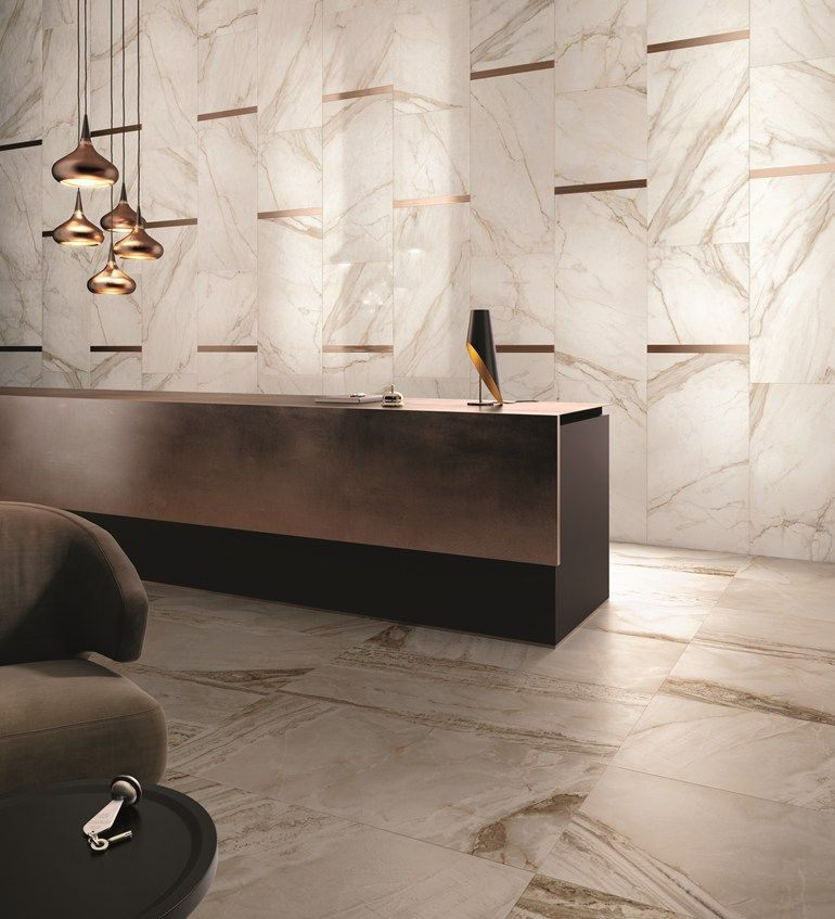 Wall Floor Tiles With Marble Effect Supreme By Flaviker Contemporary Eco Ceramics Reception Desk Design Modern Reception Desk Design Lobby Design