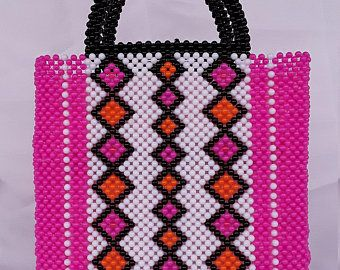 women bead bag A beaded handbag and a carrier .acrylic handmade beaded handbag women hand woven bead bag