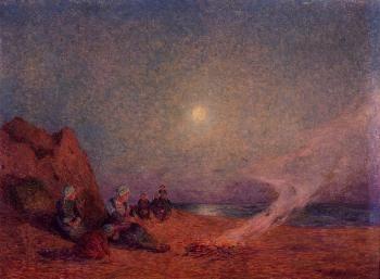 Le Pouldu, Woman on the Beach beside a Fire - Ferdinand du Puigaudeau - The Athenaeum