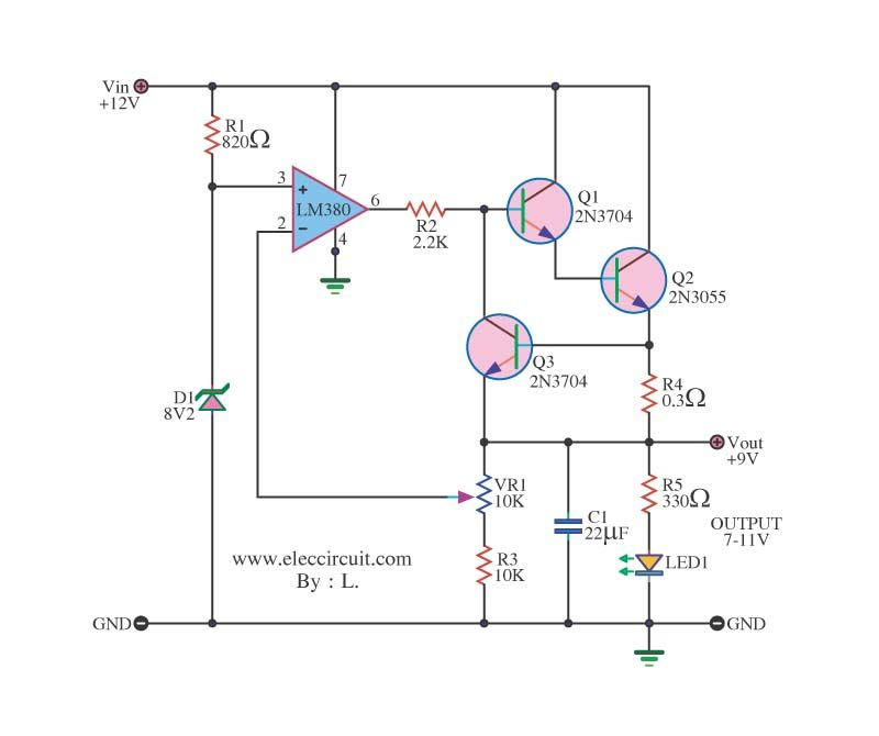 12v to 9v step down dc converter using ic 741 and 2n3055 google rh pinterest com