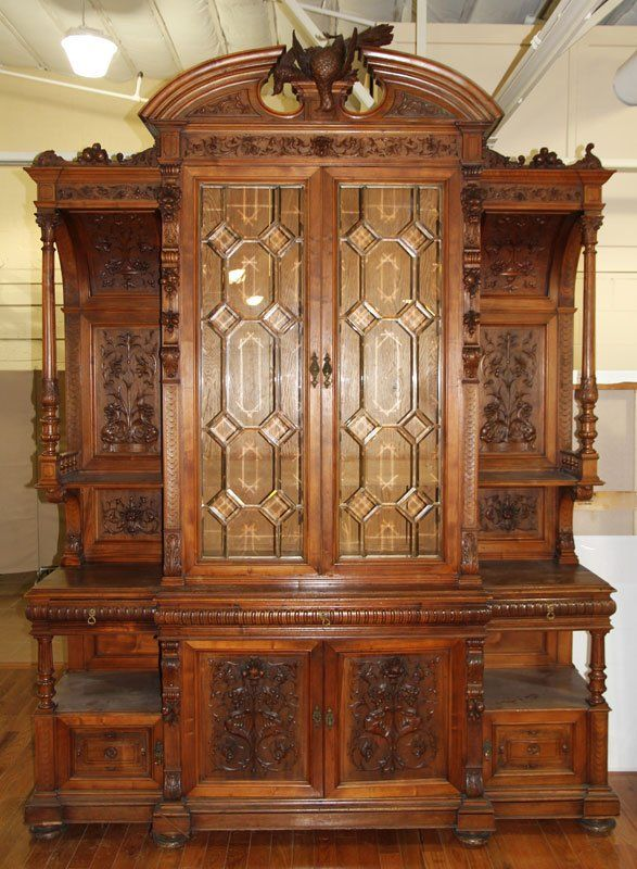 19th C. Monumental Belgian/German Walnut Huntboard : Lot 3103 - 19th C. Monumental Belgian/German Walnut Huntboard On Gone, And