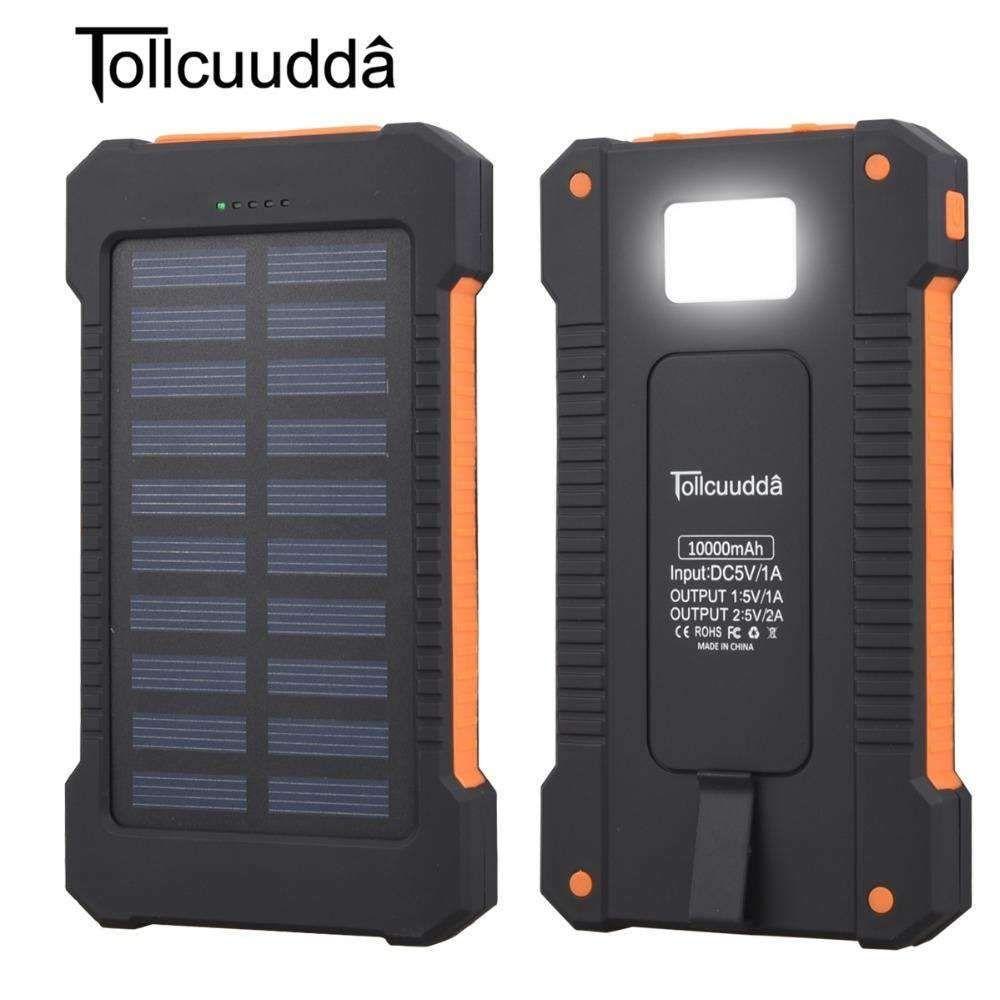 Solar Power Bank Waterproof 10000mAh Solar Charger 2 USB