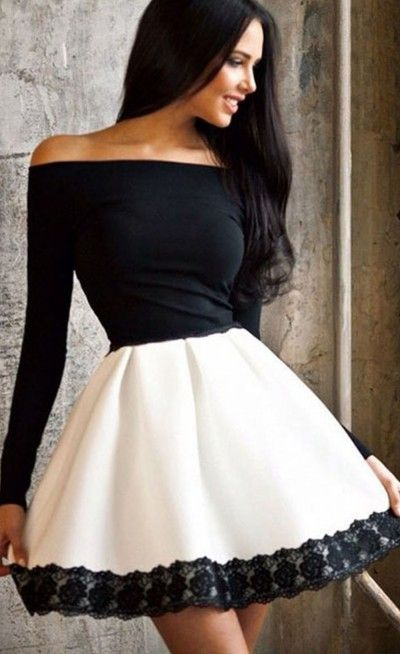 5e7667be10a0 Off Shoulder Long Sleeve Skater Dress