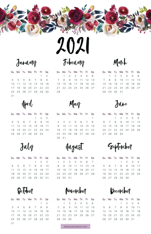 2021 Printable Calendar Floral Watercolor Calendar Letter   Etsy