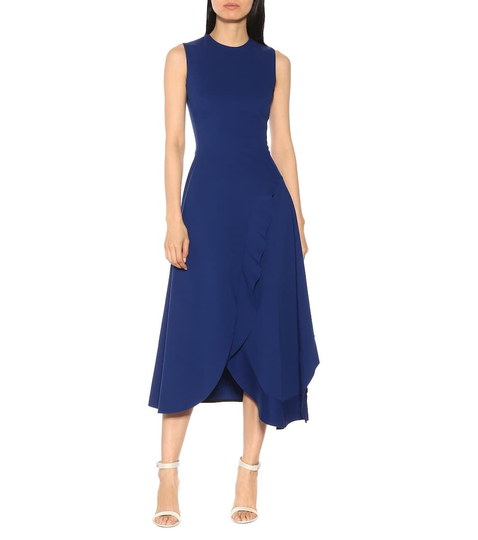 Victoria Beckham Asymmetric Midi Dress Mytheresa Embroidered Denim Dress Silk Print Dress Victoria Dress [ 1088 x 962 Pixel ]