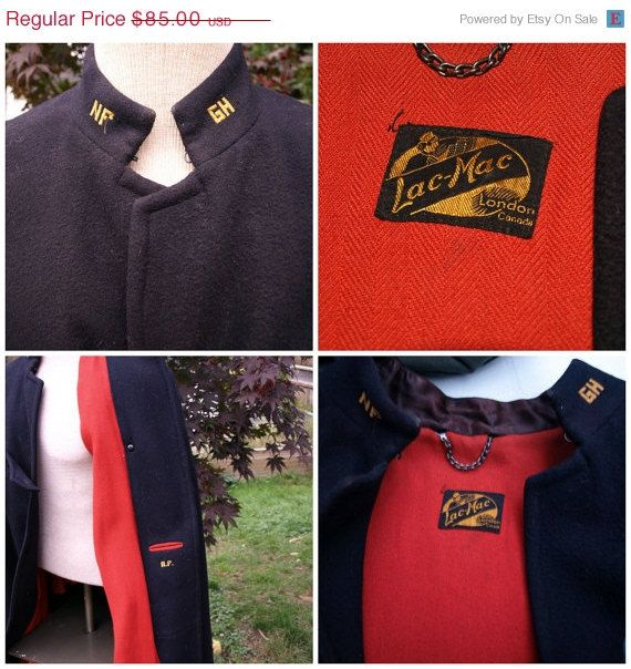 Sale 1940s Nurse S Cape Blue And Red Wool Made In London Ont Canada Lac Mac Uniform Company Nurse Cape Vintage Outfits Red Wool