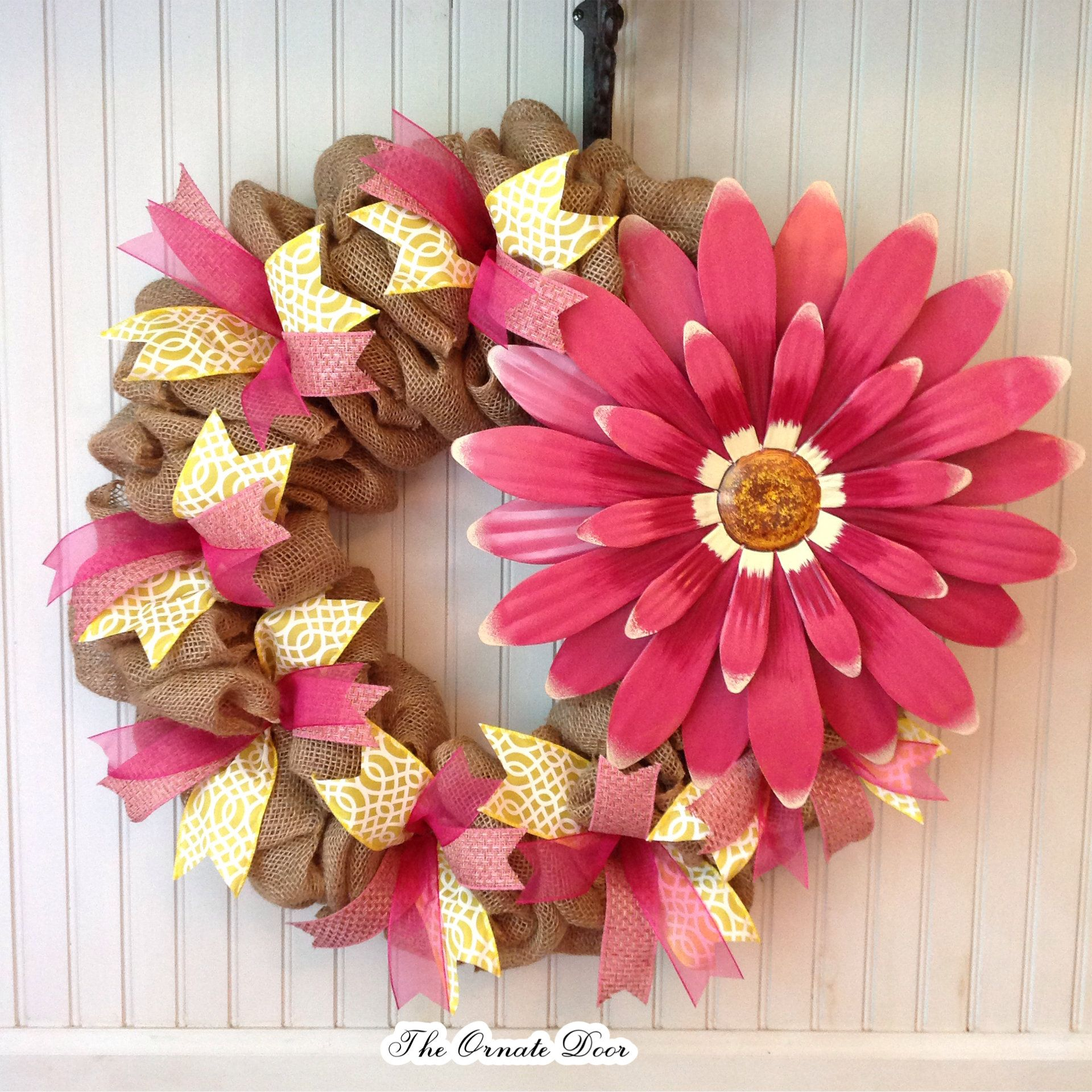 Summer Burlap Wreath, Flower Wreath, Pink And Yellow Wreath, Floral
