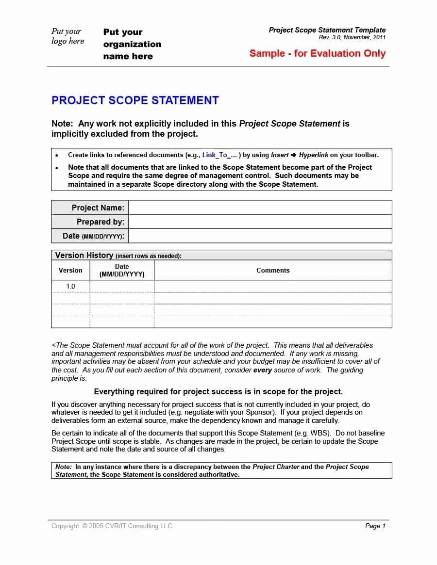 Project Scope Statement Template Beautiful 43 Project Scope Statement Templates Examples Template Lab Statement Template Notes Template Templates Project statement of work template