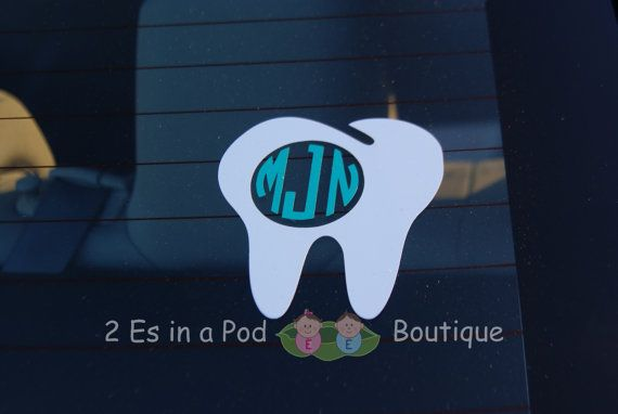 4 inch Dental Monogram Vinyl Decal for Car by 2EsInAPodBoutique Dental hygienist, dentist, tooth graduation gift personalized occupational
