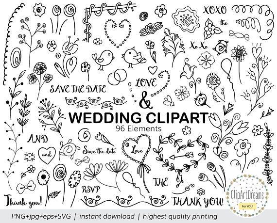 Wedding Doodle Clipart Hand Drawn Doodle Wedding Clipart Etsy Doodle Wedding How To Draw Hands Clip Art