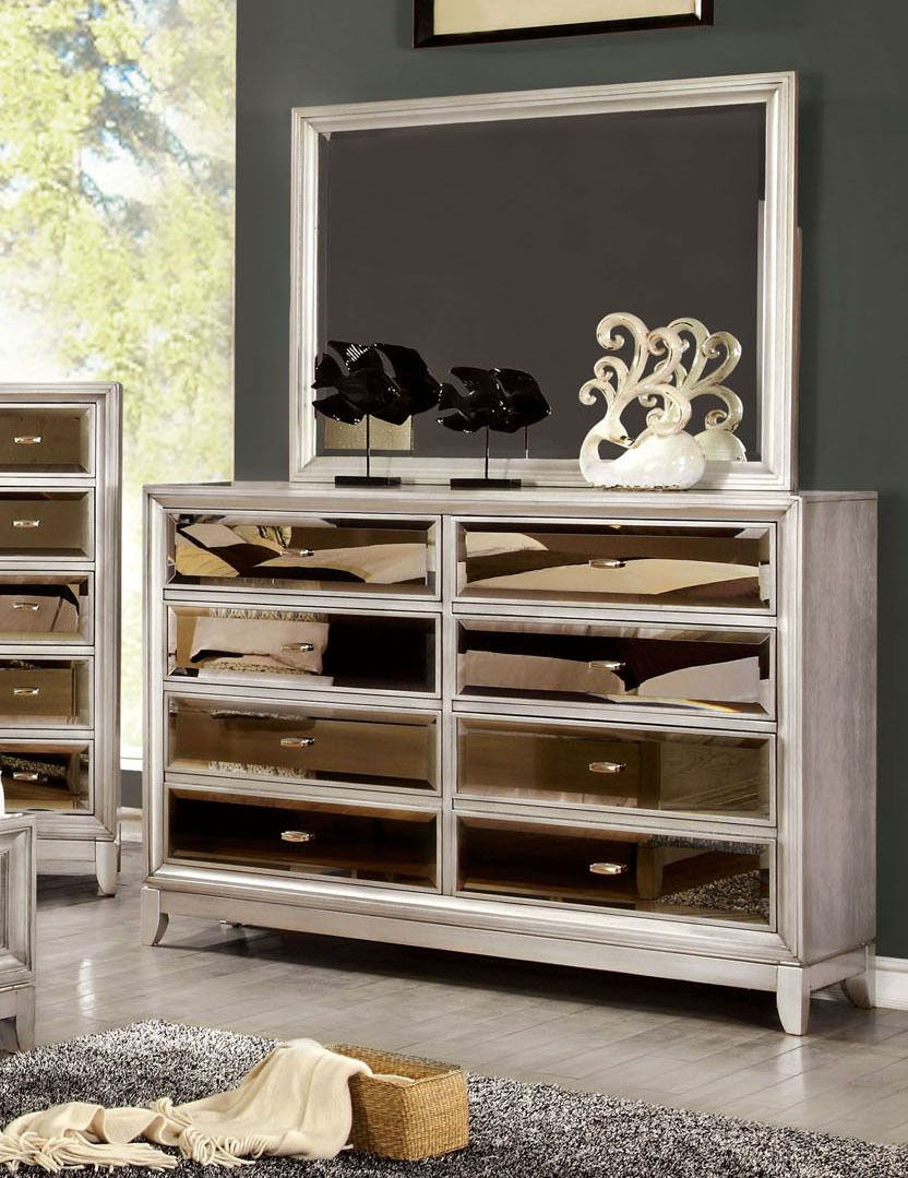 8 Drawer Dresser In Silver With Gold Tinted Mirror Front Panels