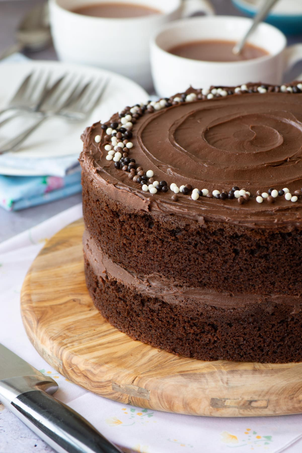 An easy chocolate cake that's moist, delicious and packed