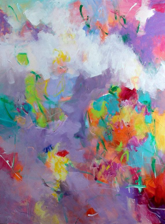 """Colorful Large Abstract Painting Expressionist 30x40 Yellow Purple """"Summer Morning"""""""